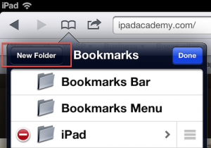 Safari bookmark folder