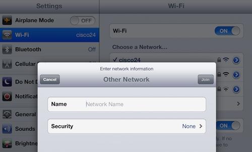 manually choose an iPad wi-fi network