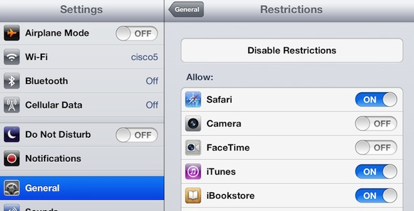 iPad restriction setting