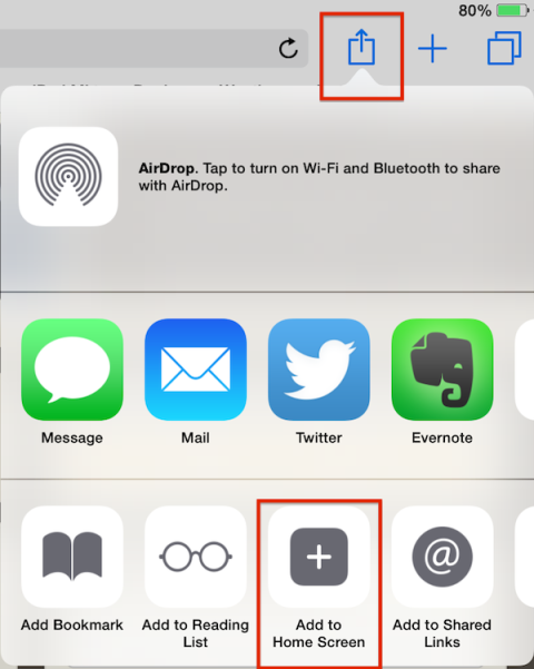 Safari share icon iOS 8